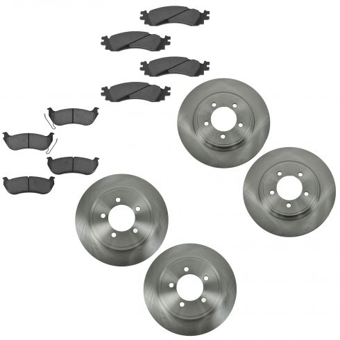 06-10 Explorer, Mountaineer; 07-10 Sport Trac Front & Rear Brake Rotors w/ Premium Posi Ceramic Pads