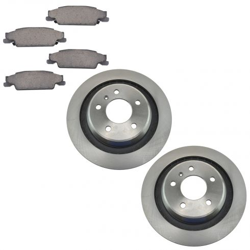 05-08 Pontiac Grand Prix GXP Rear Ceramic Brake Pads & Rotors Set (Non Drilled Replacement)