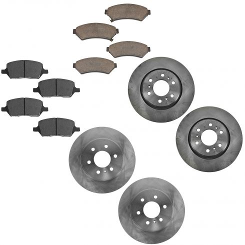 06 Terraza, Uplander, Montana, Relay Front & Rear Brake Rotor & Posi Ceramic Brake Pad Kit
