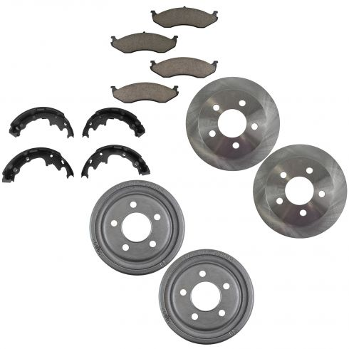 99-04 Wrangler Front Brake Rotor & Pad Rear Drum & Shoe Kit