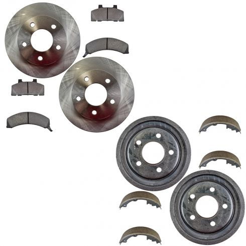 83-91 GM Front Brake Metallic Pad & Rotor & Rear Brake Drum & Shoe Kit