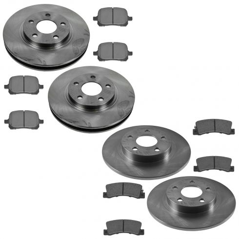 00-04 GM Multifit Front & Rear Premium Posi Metallic Brake Pad & Rotor Kit