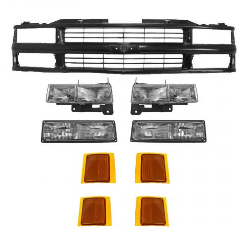 1994-02 Chevy CK Truck with Composite Headlights Black Grill Kit