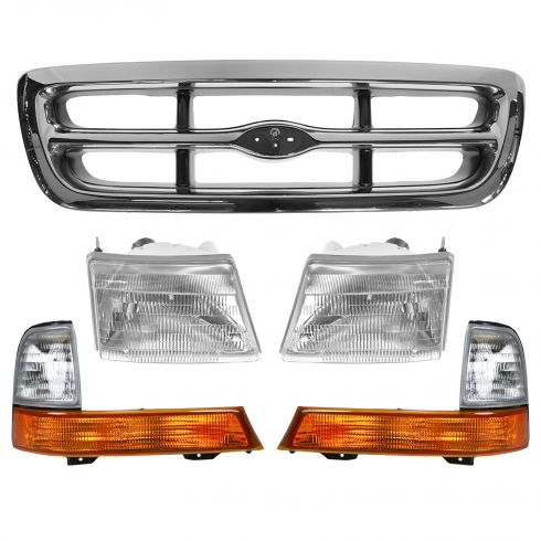 98-00 Ranger Chrome and Argent Grille and Light Kit