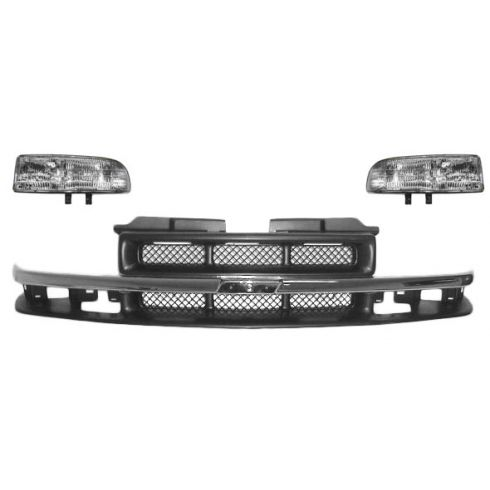 98-03 S10 Base Chrome & Dark Argent Grille and Headlight Set