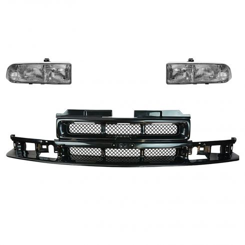 98-03 S10 Base Black Grille and Headlight Set
