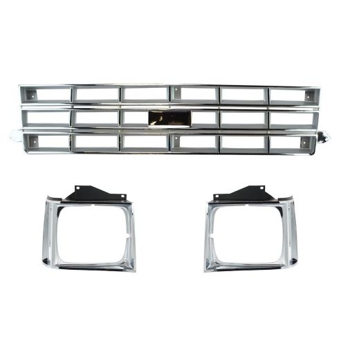 83-90 Chevy S10 Blazer Chrome & Silver Grill w/Headlight Door SET
