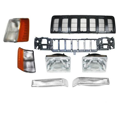 97-98 Jeep Grand Cherokee Black Grille, Header Panel, & Light Set