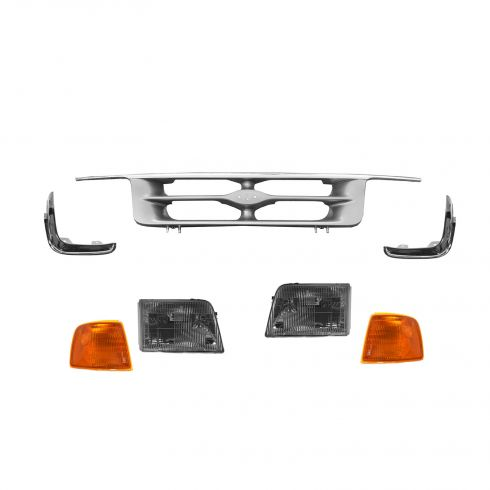 95-97 Ford Ranger Chrome/Argent Grille, Headlight, Parking Light, & Parking Light Trim Set