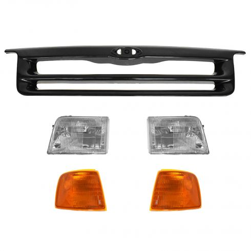 93-94 Ford Ranger 4wd Black Grille, Headlights, Park Lights Set