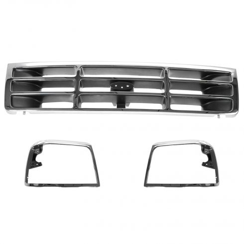 92-96 Ford PU Bronco Chrome Headlight Bezel and Grille SET