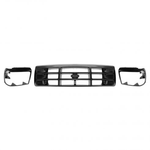 92-96 Ford PU Bronco Black Headlight Bezel and Grille SET