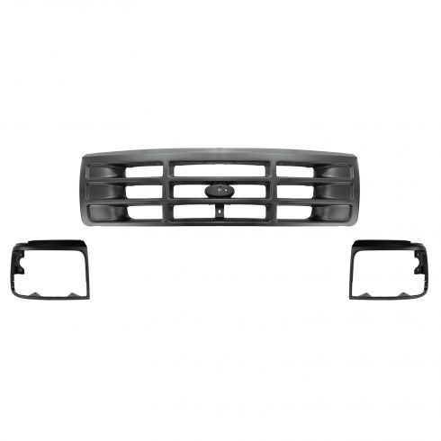92-96 Ford PU Bronco Argent Headlight Bezel and Grille SET