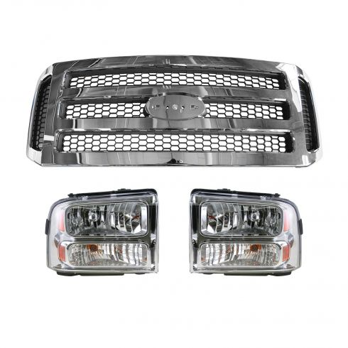 2005-07 Ford Super Duty Headlight Pair w/ Chrome & Gray Grille Kit