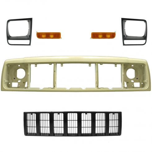 97-01 Jeep Cherokee Black Grille, Header Panel, Headlight Bezel, & Park Light Kit