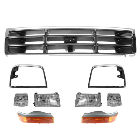92-96 Ford Bronco, F150; 92-97 F250, F350 9 Piece Grille, Bezel, Headlight, Park Light Kit