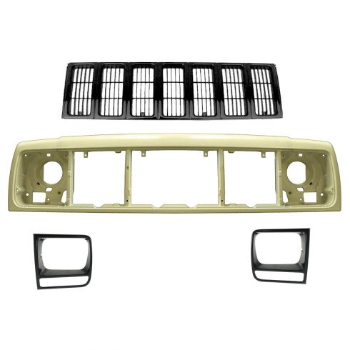 97-01 Jeep Cherokee Black Grille, Header Panel, & Headlight Trim Kit