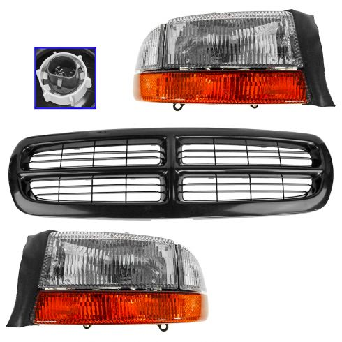 97-04 Dodge Dakota; 98-03 Durango Black Grille, Headlight & Corner Light Kit