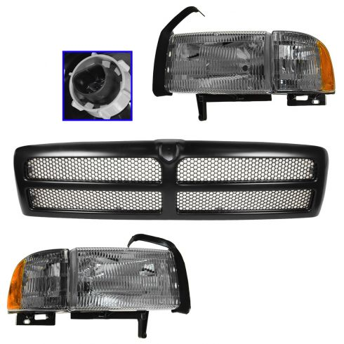 94-01 Dodge 1500 (ex Sport); 94-02 2500/3500 Black Grille, Headlight & Corner Light Kit