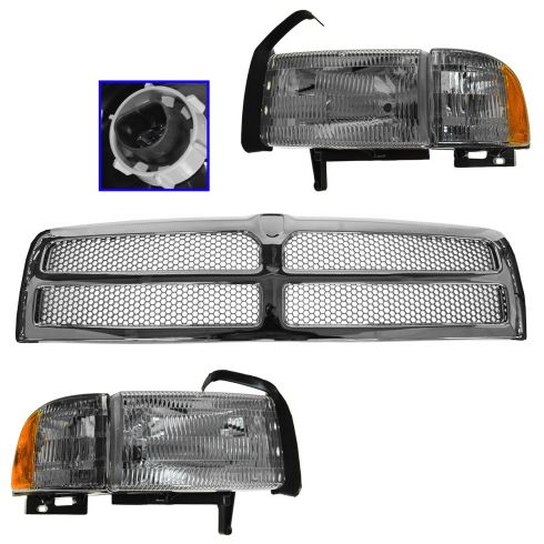 94-01 Dodge 1500 (ex Sport);94-02 2500/3500 Chrome/Silver Honeycomb Grille Headlight Corner Lamp Kit
