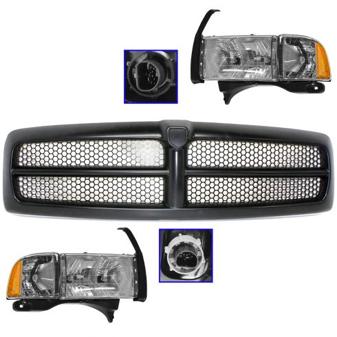 94-01 Dodge 1500 Sport; 94-02 2500/3500 Black Grille, Headlight & Corner Light Kit