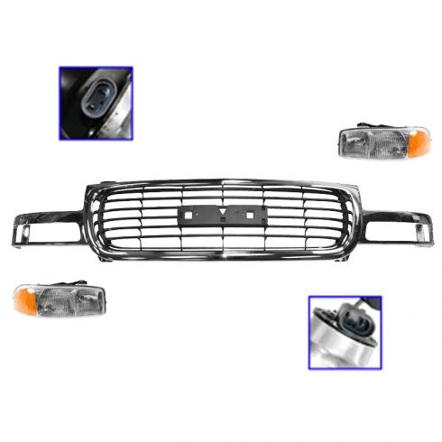 99-02 Sierra 1500/2500; 00-06 Yukon/XL Chrome & Black Grille & Headlight Kit