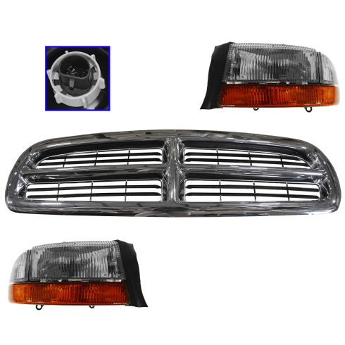 97-04 Dodge Dakota; 98-03 Durango Chrome & Black Grille, Headlight & Corner Light Kit