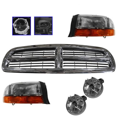 01-04 Dodge Dakota; 01-03 Durango Chrome & Black Grille, Headlight, Corner, & Fog Light Kit