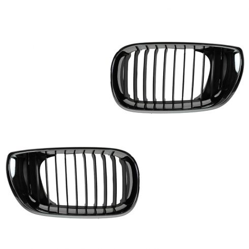 02-05 BMW 320i, 325i, 325Xi, 330i, 330Xi (4DR) Upper Chrome & Black Grille PAIR