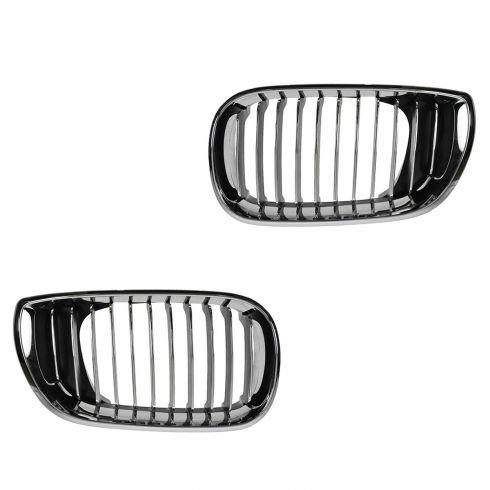 02-05 BMW 320i, 325i, 325Xi, 330i, 330Xi (4DR) Chrome Upper Grille PAIR
