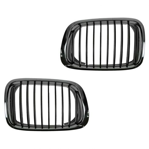 99-00 BMW 323i, 328i; 01 325i, 325Xi, 330i, 330Xi Chrome & Black Upper Grille PAIR