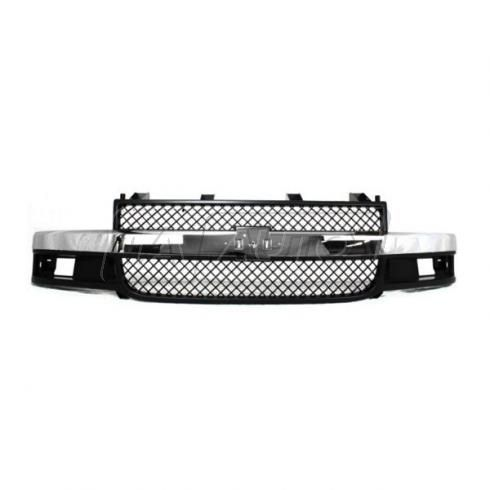 03-13 Chevy Express (w/ composite HL) Grille Chrome & Black