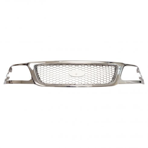 99-03 Ford F150; 04 Heritage; 99 F250LD Grille Chrome w/ Silver Honeycomb