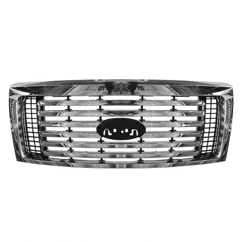 09-14 Ford F150 (Chrome Surround w/6 Chrome Bars) Hood Mtd Upper Grille