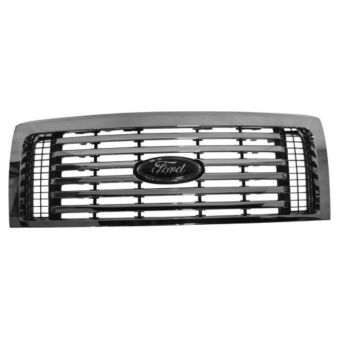 09-14 Ford F150 (exc Raptor) 6 Bar Chrome Billet Grille w/ ~Ford~ Logoed Emblem (Ford)