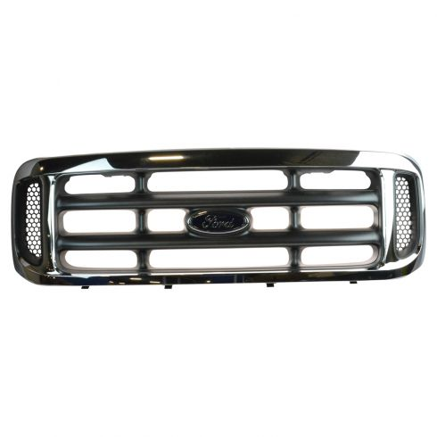 99-04 F250SD, F350SD; 99-03 F450SD, F550SD Chrome & Platinum Grille w/Ford Emblem (Ford)