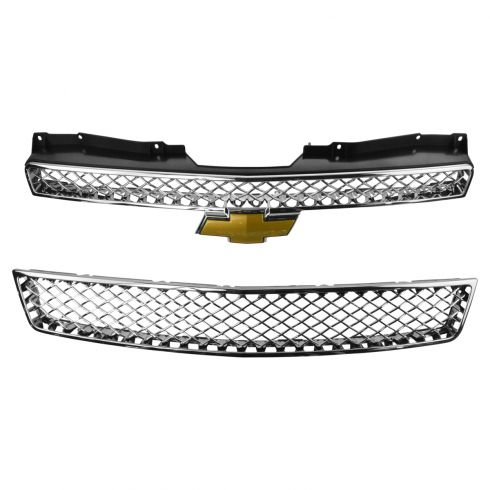 07-13 Avalanche; 07-14 Tahoe, Suburban Upper & Lower Chrome Grille Mesh Insert w/Bowtie Emblem (GM)