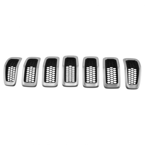 14-16 Jeep Cherokee Silver & Black Front Grille Insert Kit (SET of 7) (Mopar)