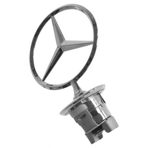 8-14 MB C; 10-14 E; 10-13 S Hybrid; 07-13 S Class Hood Mtd Chrome Mercedes Benz Star Ornament (MB)