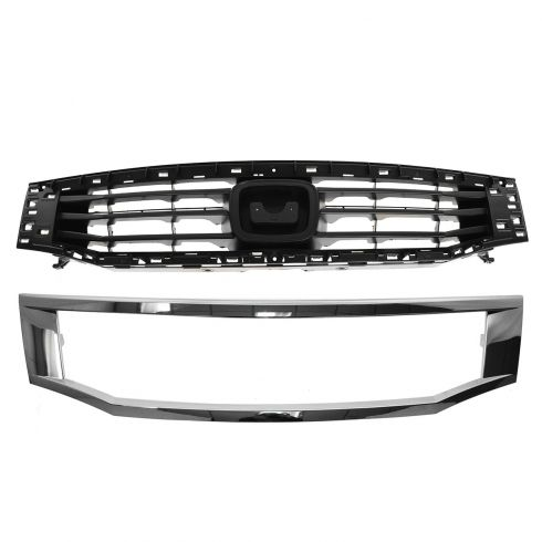 08-10 Honda Accord Sedan Black Grille & Frame Chrome
