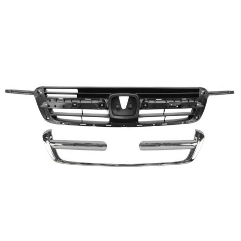 02-04 Honda CR-V Dark Gray Grille & Molding Chrome