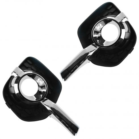 10-14 Chevy Equinox LT, LTZ Black & Chrome Fog Light Bezel PAIR