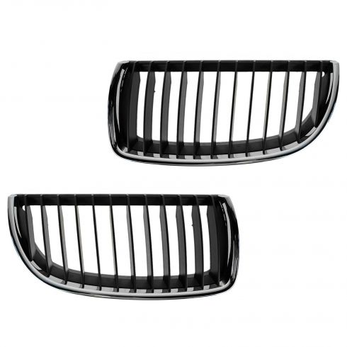 06 BMW 325i; 330i; 07-08 328i;335i Chrome & Blk Upper Grille Pair