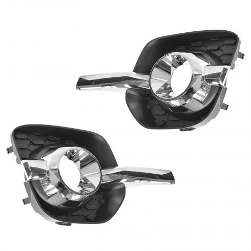 10-14 Chevy Equinox LT, LTZ Black & Chrome Fog Light Bezel PAIR (GM)