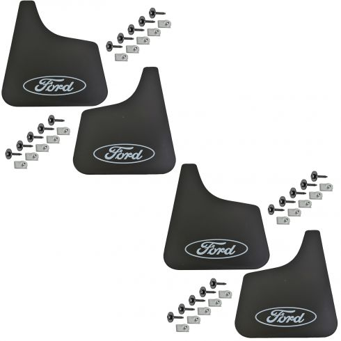 90-12 FS Van w/SRW;87-13 F150,Brnco;87-97 F250,F350 ~Ford~ Logoed Fr /Rr Flt Mud Flap (Set of 4)(FD)