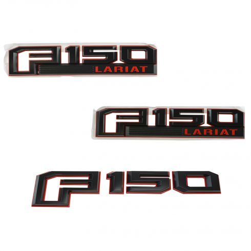 15-16 F150 Red & Black ~F150 LARIAT~ Logoed Fender w/Tailgate Nameplate Emblem Kit (Set of 3) (FD)