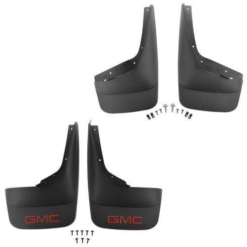 07-13 Sierra 1500; 07-14 2500, 3500 (exc DRW) Molded Black Front & Rear Splash Guard (Set of 4)(GM)