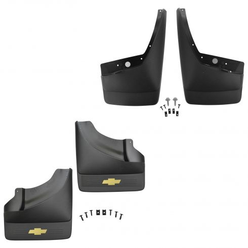 07-14 Silverado 3500HD w/DRW NB Molded Black Plastic Front & Rear Splash Guard Kit (Set of 4)(GM)