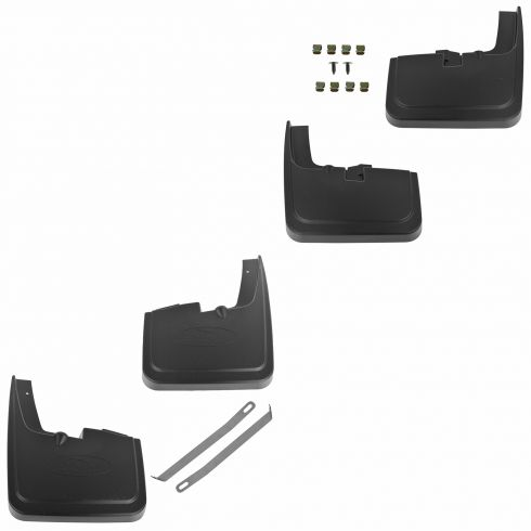 2015 Ford F150 w/Wheel Lips Molded Black Plastic Front & Rear Splash Guard Mud Flap PAIR (Ford)