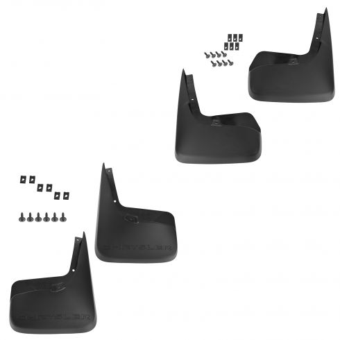 11-15 Chrysler Town & Country Mld Blk Plastic Front & Rear Splash Guard Mud Flap (Set of 4) (Mopar)
